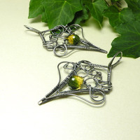 Luxury silver wire wrapped earrings yellow by MadeBySunflower