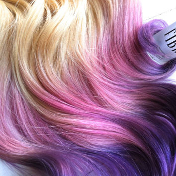 """Blonde Ombre, Blonde hair extensions dipped in purple haze and pink, Lauren Conrad, Dip Dye, 7 Pieces, 16"""""""