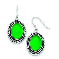 Sterling Silver Antiqued Aventurine Dangle Earrings QE12588