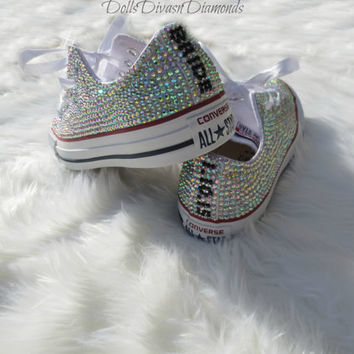 BRIDE AND WEDDING Date All Over Crystal Converse-Custom hand,made Crystal Converse
