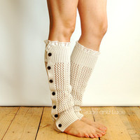 Nellie Knit - Oat - open weave button down leg warmer - legwarmers - button leg warmers - boot socks - boot warmers Grace and Lace