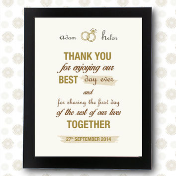 Wedding thank you sign bridal shower decor / printable pdf / wedding decoration best day ever thank you note ideas personalized engagement