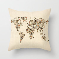 Cats Map of the World Map Throw Pillow by artPause | Society6