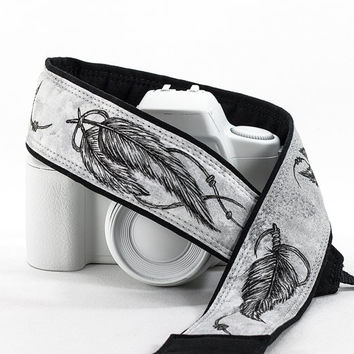 Feathers Camera Strap, dSLR, Hand Painted, Pen and Ink, One of a Kind, Artisan Series, SLR, Tribal, Black, grey, gray, Tribal, 235