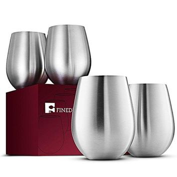 Stainless Steel Wine Glasses  Set of 4 Large amp Elegant 18 Oz Premium Grade 188 Stainless Steel Red amp White Stemless Wine Glasses Unbreakable Portable Wine Glass for Daily Outdoor Events Picnics
