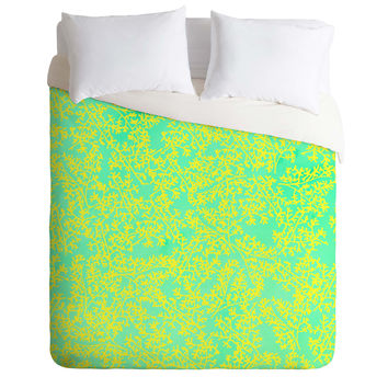 Joy Laforme Coral Me Lime Duvet Cover