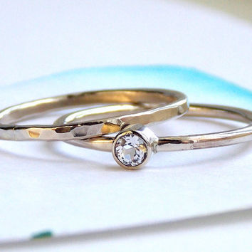 Simple Birthstone Ring:  14K Gold-filled ring, birthstone, dainty ring, simple ring, gold ring