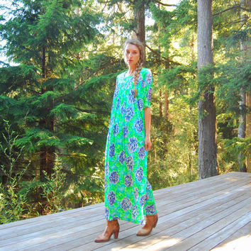 80s Vintage Nightgown, Neon Dayglow Blue Green SEARS Hawaiian Maxi Dress, Hawaiian Caftan MuuMuu, Floral Print Hippie Psychedelic Dress