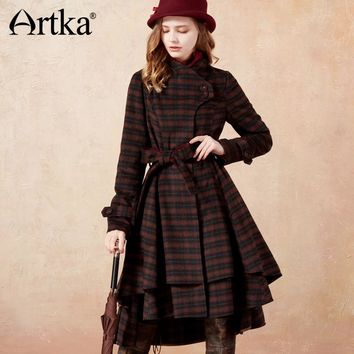 ARTKA Women's Winter Woolen Vintage Graceful Plaid A-line Long Coat Jacket FA10675D