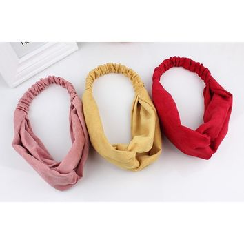 New Fashion Women Suede Soft Solid Headbands Vintage Cross Knot Elastic Hairbands Bandanas Girls Hair Bands Hair Accessories