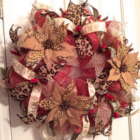 Christmas Leopard Poinsettia Jute Deco Mesh Wreath