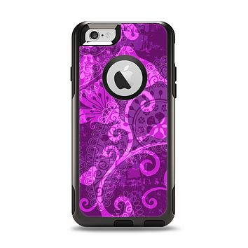 The Bright Pink & Purple Floral Paisley Apple iPhone 6 Otterbox Commuter Case Skin Set