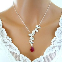Orchid Red Ruby Necklace Sterling Silver Wedding Bridesmaid Gift - Wedding Jewelry | Handmade