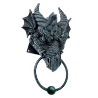 ANCIENT HORNED DRAGON HEAD RESIN DOOR KNOCKER AWESOME HOME DECOR