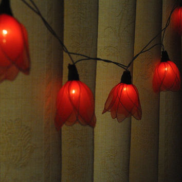 20 Red Tulip flower string light patio hanging wedding living room bedroom party rustic country home garland