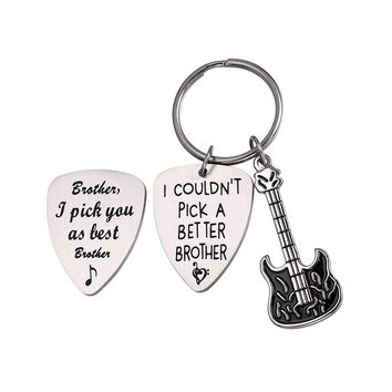 Brother Grandpa Dad Key Ring Punk Cool Guitar Pick Men's Keychain Music Father's Day Gift Key Holder Stainless Steel