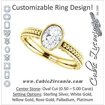 Cubic Zirconia Engagement Ring- The Cheyenne (Customizable Oval Cut Bezel-set Solitaire with Beaded Filigree Three-sided Band)