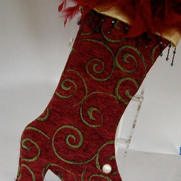 CIJ Vintage Stocking Brocade Victorian 1990