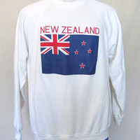 Vintage Soft 80s NEW ZEALAND FLAG Graphic Jumper Men Women Medium Large Amazing Crewneck Sweatshirt