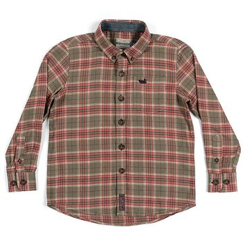 Youth Hindman Flannel in Stone Brown & Tan by Southern Marsh - FINAL SALE