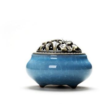 Ceramic Coil Incense Burners Holder with Metal Copper Cover  ~