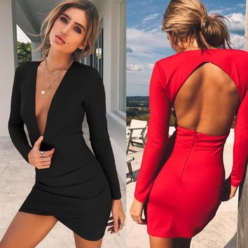 Deep V Neck Backless Skinny Sexy Bodycon Dresses Women Long Sleeve Mini Party Club Autumn Winter Dresses Red Black