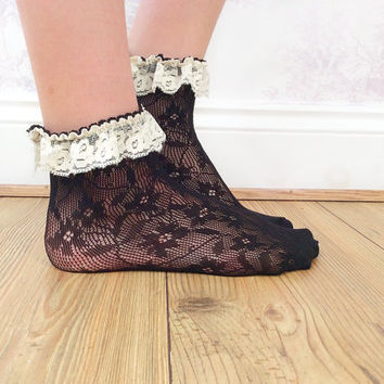 Black and Cream Lace Ankle Socks, Crochet Lace Socks, Lace Socks, Shabby Chic, Fashion Accessory, Fashion Socks, Teen Gift Ideas