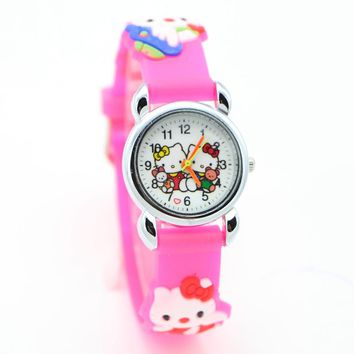 Free Shipping 3D Cartoon hello kitty princess pink doll Watch Children Kids Girls Boys Students Quartz Wristwatches.