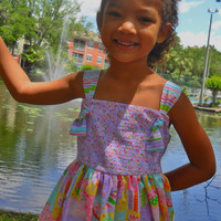 Girls Pastel Summer Dress in Cupcakes, Donuts and Ice Cream Pattern, Sizes 2T - 8