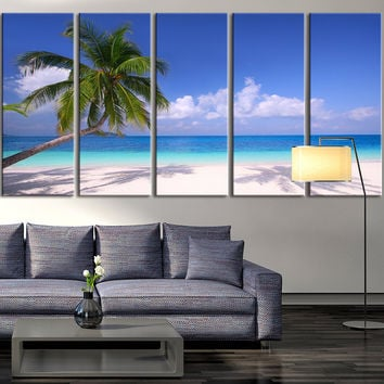5 Panel Palm and Beach Wall Art Canvas Print, Seascape Canvas Print, Large Wall Art Print, Home and Office Decor, Ocean Beach Canvas