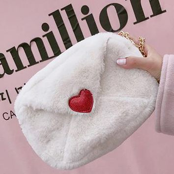 Plushy Envelope Heart Bag