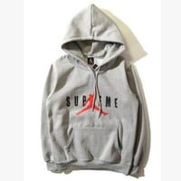 """Air Jordan X Supreme"" Fashion Casual Unisex Loose Letter Pattern Print Long Sleeve Couple T-shirt Hooded Sweater"