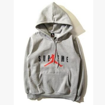 """""""Air Jordan X Supreme"""" Fashion Casual Unisex Loose Letter Pattern Print Long Sleeve Couple T-shirt Hooded Sweater"""