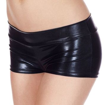 Womens Sexy Lingerie Low Waisted Sexy Metallic Shorts Shiny Pole Dance Shorts