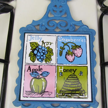 Blue Cast Iron and Ceramic Trivet - Fruit and Honey