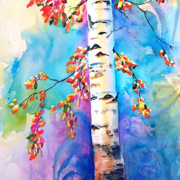 Birch Tree, Original Watercolor, 12x16, Colorful, Autumn, Seasonal, Large, Landscape, Nature, Woods, Home decor, wall art, Aspen