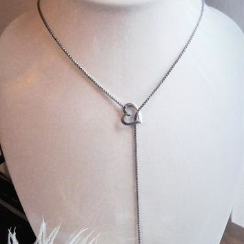 Sterling Silver Open Falling Heart Pearl Lariat Necklace