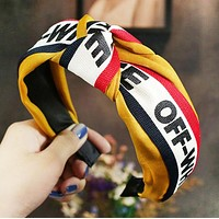 Off White New fashion letter print contrast color headband hair clasp Yellow
