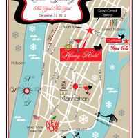 As Seen on STYLE ME PRETTY - Custom Fun Wedding Map New York City (same design but choose your city/location)