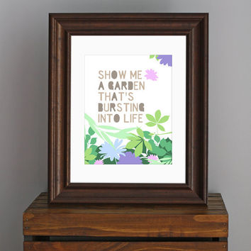 Spring Typography Art Print  Show Me A Garden  Snow by CisforColor