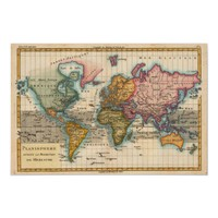 Vintage World Map Posters from Zazzle.com