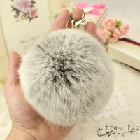 Gold Plated Keychain Charm with Plush Cute Genuine Rabbit Fur Key Chain for Car Key Ring Handbag Accessories Charm Gray