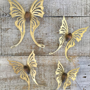 Butterfly Wall Hanging Set of 4 Vintage Brass Butterflies Wall Art 3D Butterflies Golden Metal and Wood Butterfly Hollywood Regency Decor