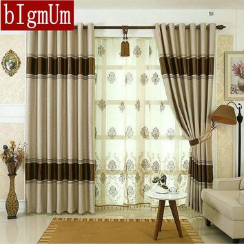 Blackout Curtains for Living Room Hotel  European Simple Design Window Drape Embroidered Tulle Beaded