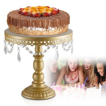 URANMOLE 18K Gold Antique Metal Cake Stand, Round Cupcake Stands, Wedding Birthday Party Dessert Cupcake Pedestal/Display/Plate with Crystals and Beads(L:12X11.5)
