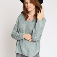 Lake Michigan Embellished Sleeves Sweater | Ruche