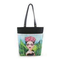 Frida Kahlo w/ Black Cats Canvas Tote Bag Purse Art