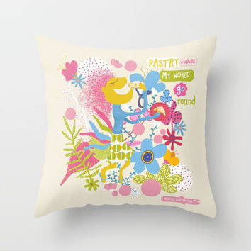Pastry makes my world go round - Kitchen funnies Throw Pillow by Krusidull Illustrations