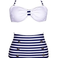 Genluna High Waist Pin up Bikini Sets Polka Top + Bottom Swimsuit Swimwear [B6914],M=US S,Blue 1