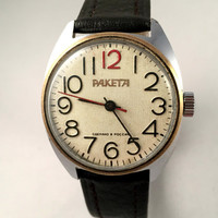 Vintage men's watch Raketa, mechanical Russian wristwatch, lovely round dial watch, brand new leather band, gift for him.